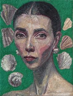 Yvette Coppersmith Self-portrait with Shells oil on linen, 41cm x 30.5cm, 2017 Best Portraits, Self, Nature, Artist, Painting, Natural Forms, Master Class, The Great Outdoors, Natural
