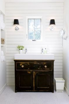 Small White Trough Sink with Classic Vanity Cabinet for Simple Bathroom Design