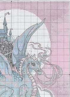 Dragon and Castle 2 of 5.   Solo Patrones Punto Cruz | Aprender manualidades es facilisimo.com
