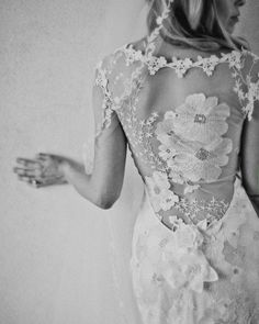 Weddbook ♥ Claire Pettibone flowers embroidered wedding dress with lace back. Stunning lace back wedding dresses. Orange Blossom by Claire Pettibone. Lace Back Wedding Dress, One Shoulder Wedding Dress, Wedding Dresses, Backless Wedding, Gown Wedding, Dress Lace, Lace Dresses, White Dress, Claire Pettibone Wedding Gowns