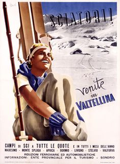 Ski in Valltellina, Italy - Vintage Travel Poster