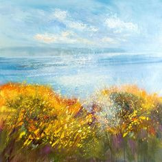 "Beautiful coastal art from Cornwall and the North coast. Make a statement in your home with a Giclee print. Titled ""Mist falling over the gorse, Widemouth Bay - Sue Read"" Coastal Art, North Coast, Floating Frame, Canvas Frame, Cornwall, Mists, Giclee Print, Original Artwork, Canvas Prints"
