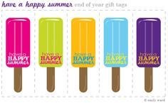 Free printable happy summer gift tags end of school year links 34 fun ways to celebrate the end of school negle Choice Image