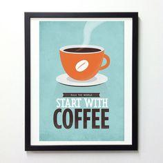 KaffeeQuote Poster Start mit Kaffee Vintage Blue von NeueGraphic, $19.00