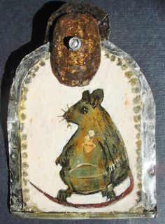 Sacred Heart Mouse Handpainted Recycled Metal Icon by mousykat, $65.00