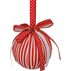 Stripey Ribbon Wrapped Christmas Tree Bauble
