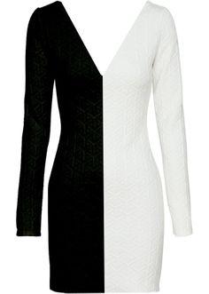 Dual Highway Dress | Long-Sleeve Black White Bodycon Dresses | Rickety Rack
