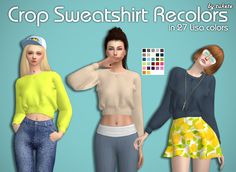 tukete:  Crop Sweatshirt Recolors  Custom icon... - Sims4 Marigold
