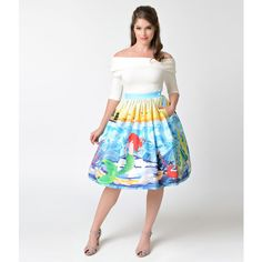 Unique Vintage 1950s Mermaid Daydream High Waist Swing Skirt ($59) ❤ liked on Polyvore featuring skirts, high waisted a line skirt, white flared skirt, white high waisted skirt, high waisted skater skirt and high-waisted flared skirts