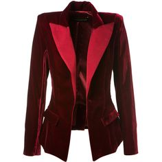 Alexandre Vauthier Burgundy Velvet Blazer ($2,095) ❤ liked on Polyvore featuring outerwear, jackets, blazers, red blazer jacket, red velvet jacket, burgundy blazer, velvet blazer and long sleeve jacket