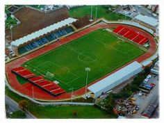 Aerial view in 1996, with temporary stands for matches vs Aberdeen and Manchester United.