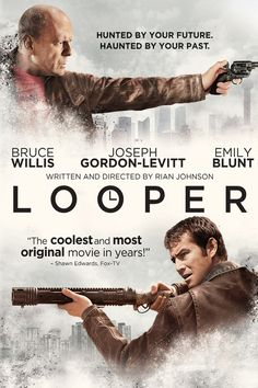 """In a future society, time-travel exists, but it's only available to those with the means to pay for it on the black market. When the mob wants to eliminate someone, it sends the target into the past, where a hit man known as a looper lies in wait to finish the job. Joe (Joseph Gordon-Levitt) is one such hired gun, and he does his job well -- until the day his bosses decide to """"close the loop"""" and send Joe's future self (Bruce Willis) back in time to be killed."""