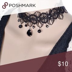"""Vintage Gothic Black Lace w/Beads Necklace Chocker NWOT This gorgeous Gothic-look lace necklace is very sexy. Choker type necklace with a retro or vintage look. About 13"""" long. Jewelry Necklaces"""