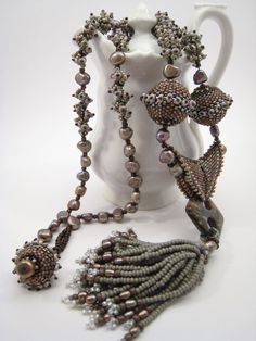 Bead Fizz: Grey-Brown Necklace with Beaded Beads, Freshwater Pearls, Tassel Pendant, Statement Necklace with Fringes, Gray Jewelry, Bead Balls Necklace