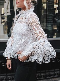 Sensational Hollow Out Lace Flare Sleeve Casual Blouse. Such a stunning creation to wear for any wedding or specal Source by clothes tops Lace Outfit, Dress Outfits, Fashion Dresses, Look Boho, White Fashion, Blouse Designs, Blouses For Women, Ladies Blouses, Ideias Fashion