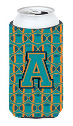 Letter A Football Aqua - Orange and Marine Blue Tall Boy Beverage Insulator Hugger CJ1063-ATBC #artwork #artworks