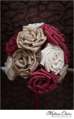 Beautiful Burlap Bouquet by Melissa Claire Photography Burlap Bouquet, Burlap Flowers, Satin Flowers, Fake Flowers, Diy Wedding Bouquet, Diy Bouquet, Wedding Flowers, Paper Bouquet, Burlap Crafts