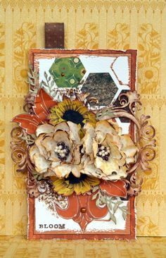 Mixed Media tag using BoBunny Enchanted Harvest Collection, Pentart Contour Liner and Sizzix Bigz Die - Calliope Item #661243 and
