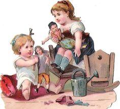 Oblaten Glanzbild scrap die cut chromo Kind child  Puppe doll spielen playing