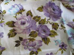 Vintage Floral Fabric Purple Lavender Roses 28 x 42 Vintage Floral Fabric, Vintage Fabrics, Lavender Roses, Purple, Ebay, Viola