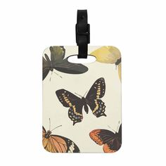 """NL Designs """"Vintage Butterflies"""" Tan  Decorative Luggage Tag from KESS InHouse"""