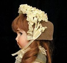 "Velvet Bonnet Antique French German Doll 11-12"" circ.   #antiquedollplace"