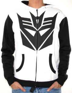 White Transformers Zip Up Hoodie with Enticing Graphics... http://www.hotzipuphoodies.com/category/white/