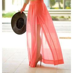 Skirt: maxi slit maxi chiffon chiffon coral coral maxi summer festival... ❤ liked on Polyvore