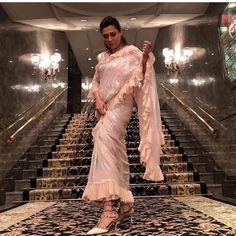 Ah-mah-zing stores for trending ruffle saree Simple Sarees, Trendy Sarees, Stylish Sarees, Fancy Sarees, Drape Sarees, Saree Draping Styles, Saree Styles, Desiner Sarees, Sari Design