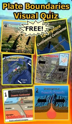 This is a FREE 10 question 100 slide visual quiz about plate boundaries. A template quiz sheet is provided with word bank for students to record their answers. Ten images of plate boundaries are shown such as subduction zones, continental convergence, continental divergence, and transform fault boundaries. Enjoy! Science from Murf LLC