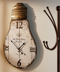 Another great find on zulily Light Bulb Wall Clock zulilyfinds Clock Painting, Clock Art, Diy Clock, Clock Decor, Wall Decor, Unusual Clocks, Cool Clocks, Pallet Clock, Bois Diy