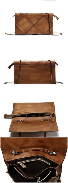 Handmade Full Grain Genuine Leather Clutch Leather Purses with chain We use genuine cow leather, quality hardware to make the bag as good as it is. •Inside zipper pocket, side pocket •YKK zipper •Leng