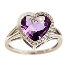 Women's #Fashion #Jewelry Sterling Silver Checkerboard Amethyst Heart Diamond Ring (1/14 cttw, J-K Color, I2-I3 Clarity)