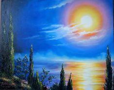 """Купить Картина маслом Прованс Пейзаж с кипарисами - """"Луна цвета солнца"""" - картина маслом, картина в подарок, картина для интерьера, море картина, море живопись, синий, оранжевый, желтый, прованс, кипарис, филатова, филин-арт, картина маслом море, морской пейзаж, авторская живопись маслом, яркая картина в интерьер, картина маслом от автора, картина купить минск, картина купить москва, масляная живопись"""