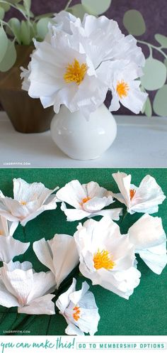 DIY Crepe Paper Tree Poppy - www.LiaGriffith.com - #crepepaperpoppy #crepepaperflowers #crepepaperrevival #paperflowers #paperflower #paperpoppy