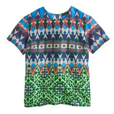 J.Crew Womens Gemstone Floral Silk T-Shirt