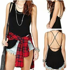 U-Neck Sleeveless Backless Black Tank Top