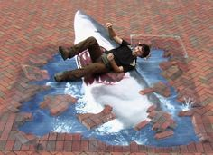 3D Street Art Illusions | 3D Shark Illusion (Street Art) | Mighty Optical Illusions