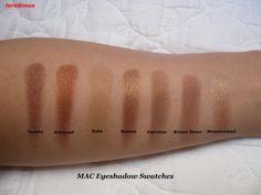 These are swatches of my MAC eyeshadows. I currently have 2 full 15-pan palettes and a 3rd one that contains only Club and Carbon. All are f...