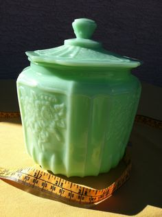 Vintage Jadeite Green Milk Glass Covered Lidded Jar for Office Kitchen Bedroom