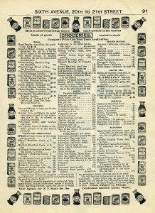 vintage catalog, junk journal printable, old fashioned groceries, vintage kitchen graphics, old book page