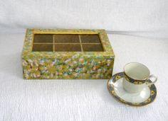 Boîte à thé / boîte à thé en bois / boîte en bois décorée par Syell