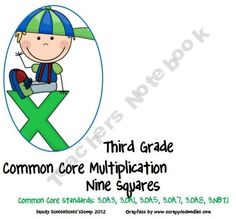 Third Grade Common Core Multiplication Nine Squares product from Scotts-Scoop on TeachersNotebook.com