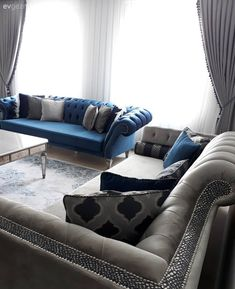 Colorful living room: 8 inspirations that will make you crack for blue! – Lady's Houses Oturma Odası – home accessories Living Room Designs, Living Room Decor, Living Spaces, Colourful Living Room, Style Classique, Upholstered Arm Chair, Salon Design, Decoration Table, Luxury Homes