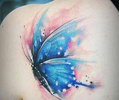 Watercolor Butterfly Tattoo, Butterfly Tattoo Cover Up, Butterfly Tattoo Meaning, Butterfly Tattoo On Shoulder, Butterfly Tattoos For Women, Butterfly Tattoo Designs, Shoulder Tattoos, Tattoo Flowers, Watercolor Tattoos