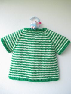 Hand Knitted Baby Vest Green-White Baby Vest by FafatukaBaby