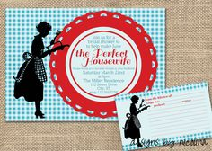 Perfect Housewife Vintage Retro and Red Bridal Shower PRINTABLE Invitation - and Matching Recipe Card