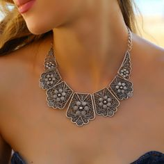 Elegant Antique Silver Vintage Chunky Bohemian Statement Collar Retro Necklace #Takimania #Choker