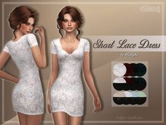 It's a simple, yet elegant short lace dress, which comes in 3 different versions. Found in TSR Category 'Sims 4 Female Everyday'