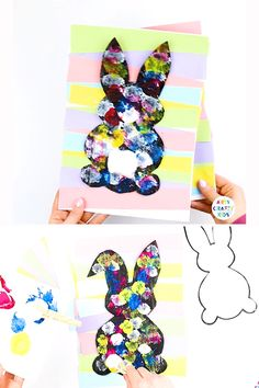 Create an adorable Easter Bunny with cotton balls! With a choice of two printable Easter Bunny Templates, this a create craft idea to try this Spring or Easter with the kids crafts videos Easter Bunny Art for Kids Easter Arts And Crafts, Spring Crafts For Kids, Easter Projects, Bunny Crafts, Flower Crafts, Kids Crafts, Art For Kids, Summer Crafts, Creative Crafts